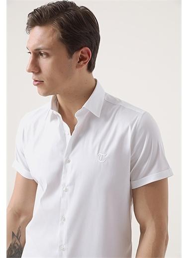 TWN Twn Slim Fit Beyaz Düz Stretch Gömlek Beyaz